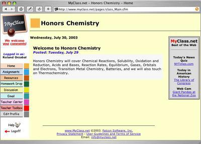 Class Home page